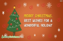 Merry Christmas. Best Wishes For A Wonderful Holiday