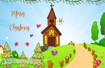Merry Christmas Wish Church Drawing